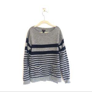 J Crew Striped Cashmere Pocket T-shirt Sweater